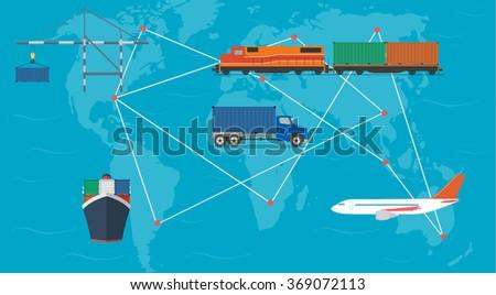 Global transportation concept - stock vector