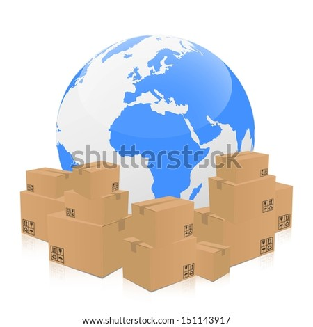 global transportation with cardboard boxes - stock vector