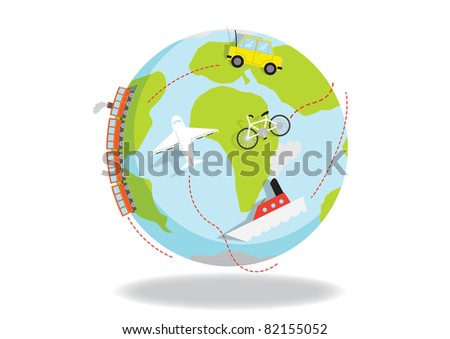 Global travel illustration showing various means of transport to reach your destination - stock vector
