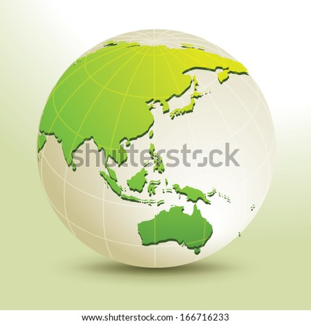 Global, Vector illustration of Global map in Oceania view. - stock vector