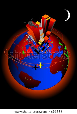 Global Warming and the effects of CO2 emissions - stock vector