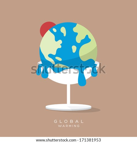 Global Warming Concept Ice cream earth melts minimal style Illustration - stock vector