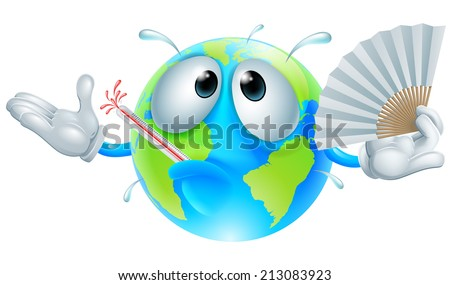 Global warming concept of a very hot globe character with a fever sweating, fanning with a paper hand fan and bursting a thermometer - stock vector