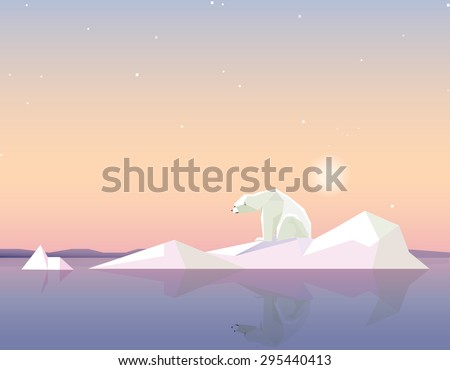 global warming concept vector illustration in polygonal geometric style with polar bear standing on the melting iceberg formation on sunset - stock vector