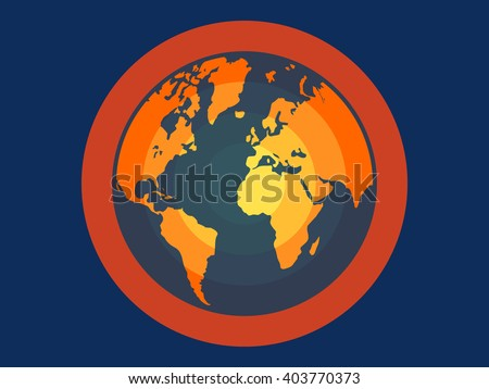 Global warming flat vector illustration for apps and websites - stock vector