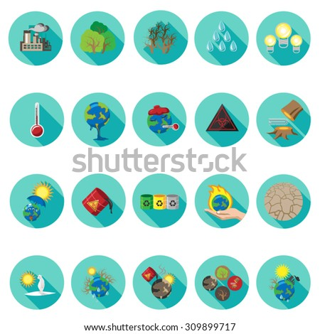 Global Warming icons set in flat design with long shadow. Illustration EPS10 - stock vector