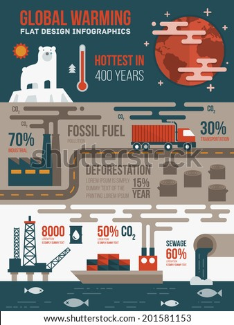 Global warming infographics - stock vector