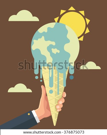 Global warming. Vector flat illustration - stock vector
