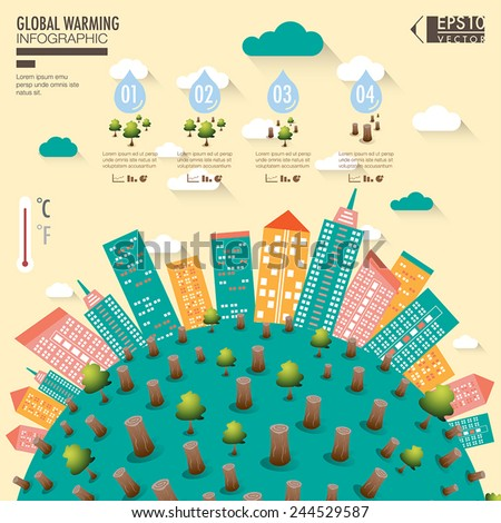 Global warming with cityscape illustration infographic elements vector - stock vector