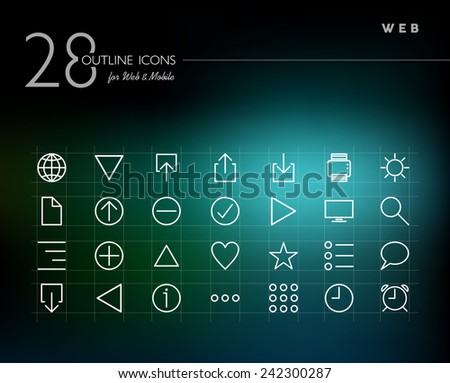 Global web line icons set for web and mobile app. EPS10 vector file organized in layers for easy editing. - stock vector