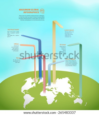Global World Wide Call-out Arrows Scalable EPS10 Composition  - stock vector