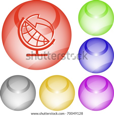 Globe and arrow. Vector interface element. - stock vector