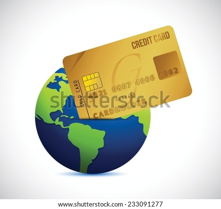 globe and credit card illustration design over a white background - stock vector