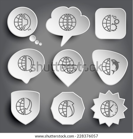 globe and phone, and gears, and magnifying glass, shift globe, and shamoo, and array down, and array up, and clock. White vector buttons on gray. - stock vector