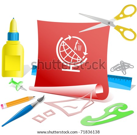 Globe and recycling symbol. Vector paper template. - stock vector