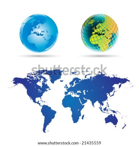 Globe and World Map (Full Detail) -Vector Art- - stock vector