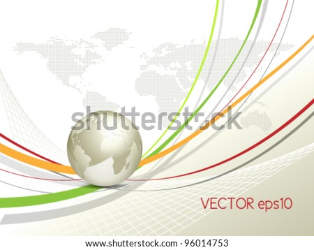 Globe and world map - global business background - stock vector