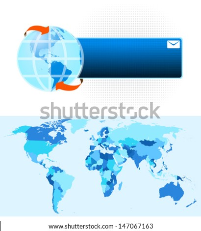 Globe Button - stock vector