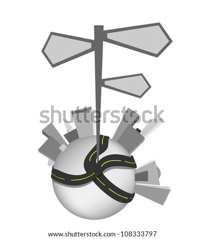 Globe city streets, isolated signs vector. - stock vector