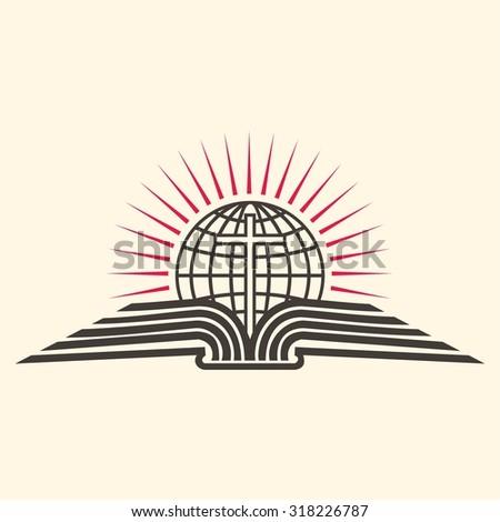 Globe, cross, open Bible, icon - stock vector