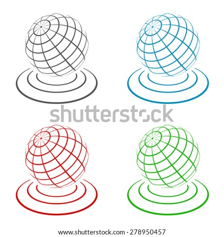 globe 3d icon design - stock vector