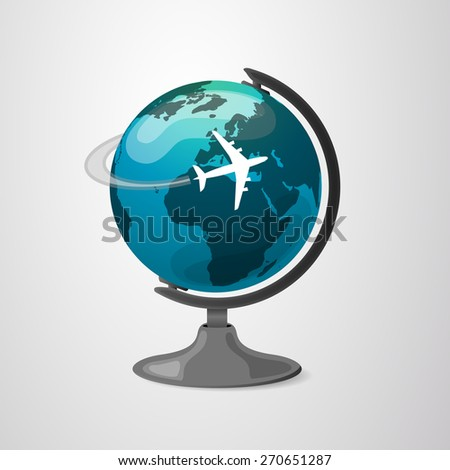 Globe Design with Airplane - stock vector