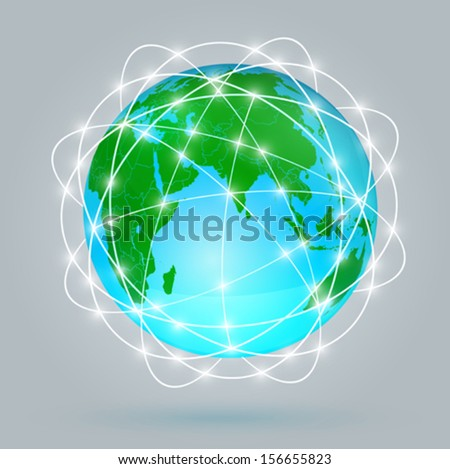 Globe digital connection, Digital communications - stock vector