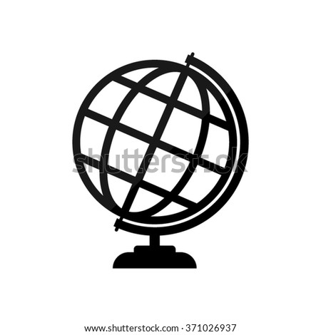 Globe earth  - black vector icon - stock vector