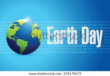 globe earth day illustration design over blue - stock vector