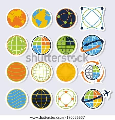Globe earth icons. Credit : NASA - stock vector