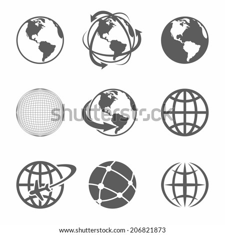 Globe earth icons set on white background - stock vector