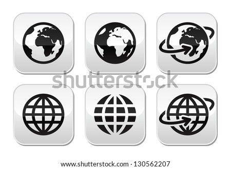 Globe earth vector buttons set - stock vector