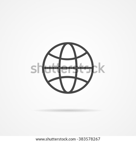 Globe earth vector icon . Globe earth  flat icon . Globe earth  black Icon .  Computer Icon. Globe earth  icon EPS on the grey background. - stock vector