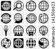 Globe earth vector icon set on gray - stock vector