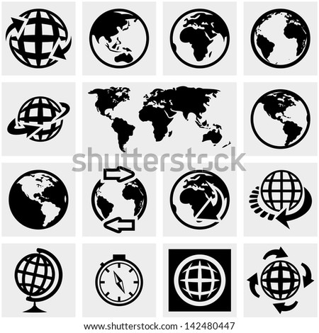 Globe earth vector icons set on gray. - stock vector