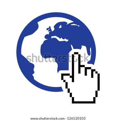 Globe, earth with cursor hand vector icon - stock vector