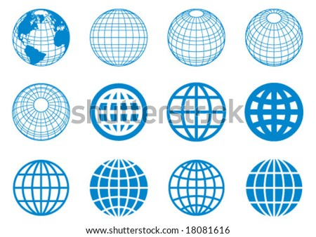 globe elements - stock vector