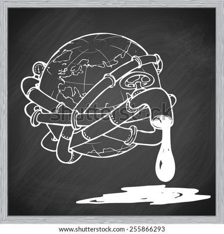 Globe entangled with oil pipelines. Illustration on the modern world vicious dependency on the fossil fuels. EPS10 vector illustration in a sketchy style imitating scribbling on the blackboard. - stock vector