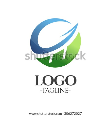 Globe finance profit vector logo template in blue and green - stock vector