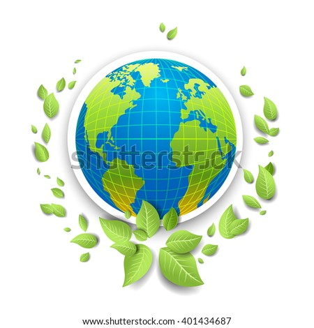 Globe icon for design banner,ticket, leaflet and so on.Template page for Earth day. Holiday card. Green globe and leaves. - stock vector
