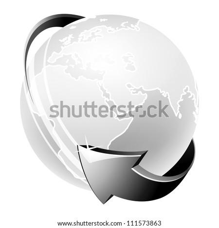 globe icon in black and white - stock vector