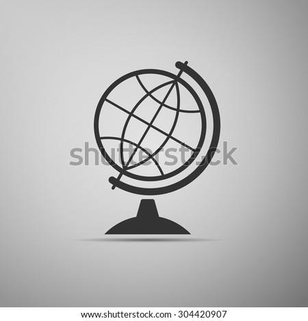 Globe icon on grey background. Vector Illustration - stock vector