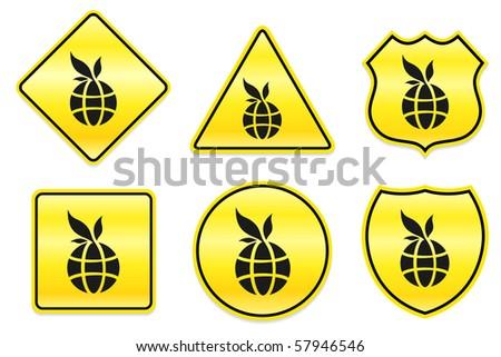 Globe Icon on Yellow Designs Original Illustration - stock vector