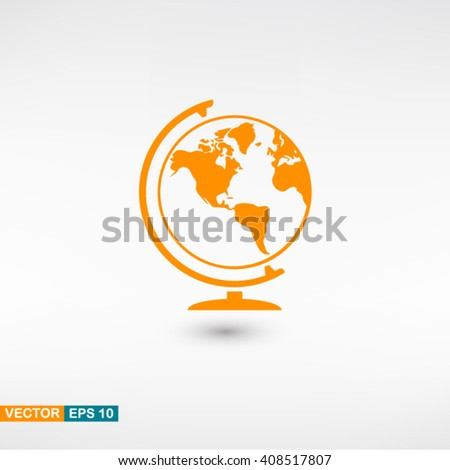 Globe icon vector eps 10. Orange Globe icon with shadow on a gray background. - stock vector