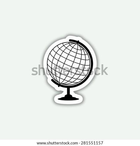 globe icon - vector sticker - stock vector