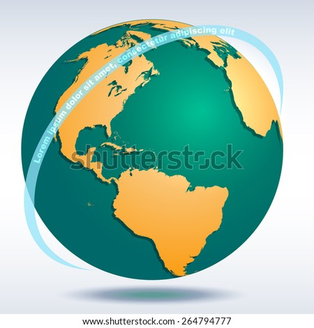 Globe icon with map of the continents of the world and vector shadow  - stock vector