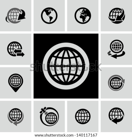 Globe icons set  - stock vector