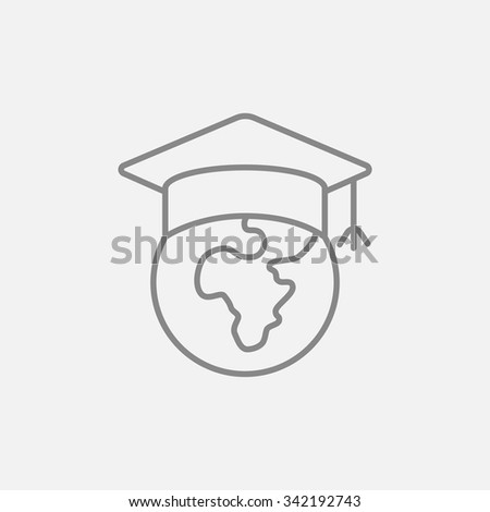 Globe in graduation cap line icon for web, mobile and infographics. Vector dark grey icon isolated on light grey background. - stock vector