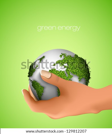Globe in hand. concept of ecology - stock vector