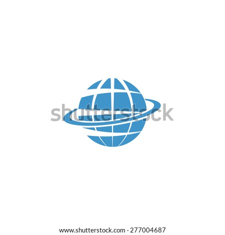Globe isolated mockup logo, blue symbol of Earth, internet or travel sign - stock vector